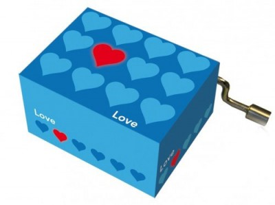 Музыкальная шкатулка-шарманка «Синие сердечки», Fridolin